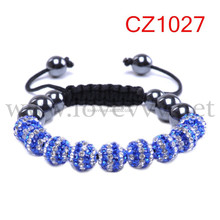 Wholesale Woven Blue White Crystal Pave Disco Ball Macrame Bracelet