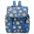 High Quality Fashion Flower Printing Pattern Women Bags School Bag PU Leather Backpack Lady