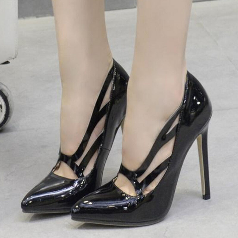 SAA40167 Latest black patent leather stiletto heel pointed toe ladies shoes
