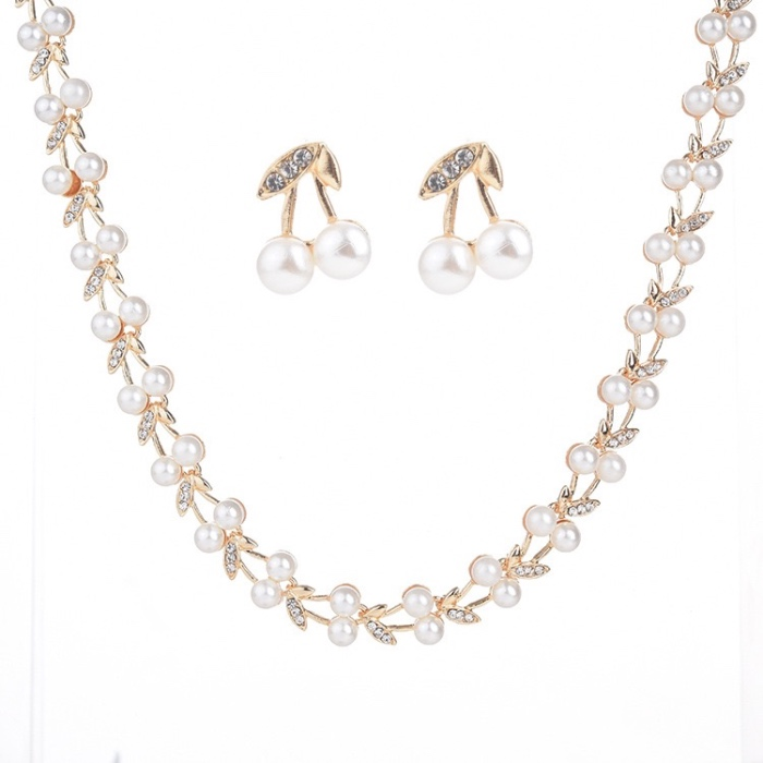 Latest Design Necklace and Earrings Pearl Set <strong>Jewelry</strong>
