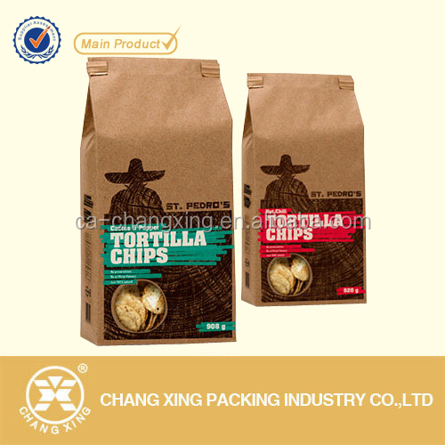 custom printing kraft paper side gusset chips bags with wicketing option
