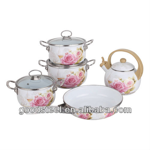 Durable Flower Decor Carbon Steel Enamel Cookware Set