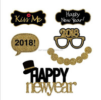 Amazon Hot Selling Newest Glitter Happy New Year 2018 Photo Booth Props