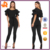 custom make black ladies bodysuit,short sleeve hot sale plain bodysuit women