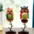 Funny painted owl statue resin animal statues