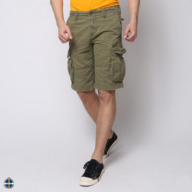 T-MS504 Men's Cotton Polyester Army Green 6 Pockets Wholesale Cargo Shorts