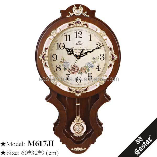 Vintage Clock Pendulum Wood Wall Clock With Flower Dial ...