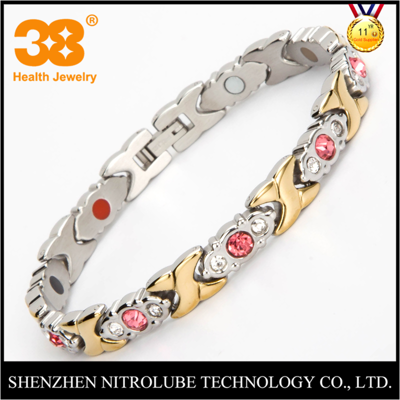 Export japan health jewelry wholesale cubic zirconia CZ silver gold plated stainless steel chain magnetic bracelet women jewelry
