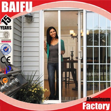 Baifu aluminium iron grill retractable screen door