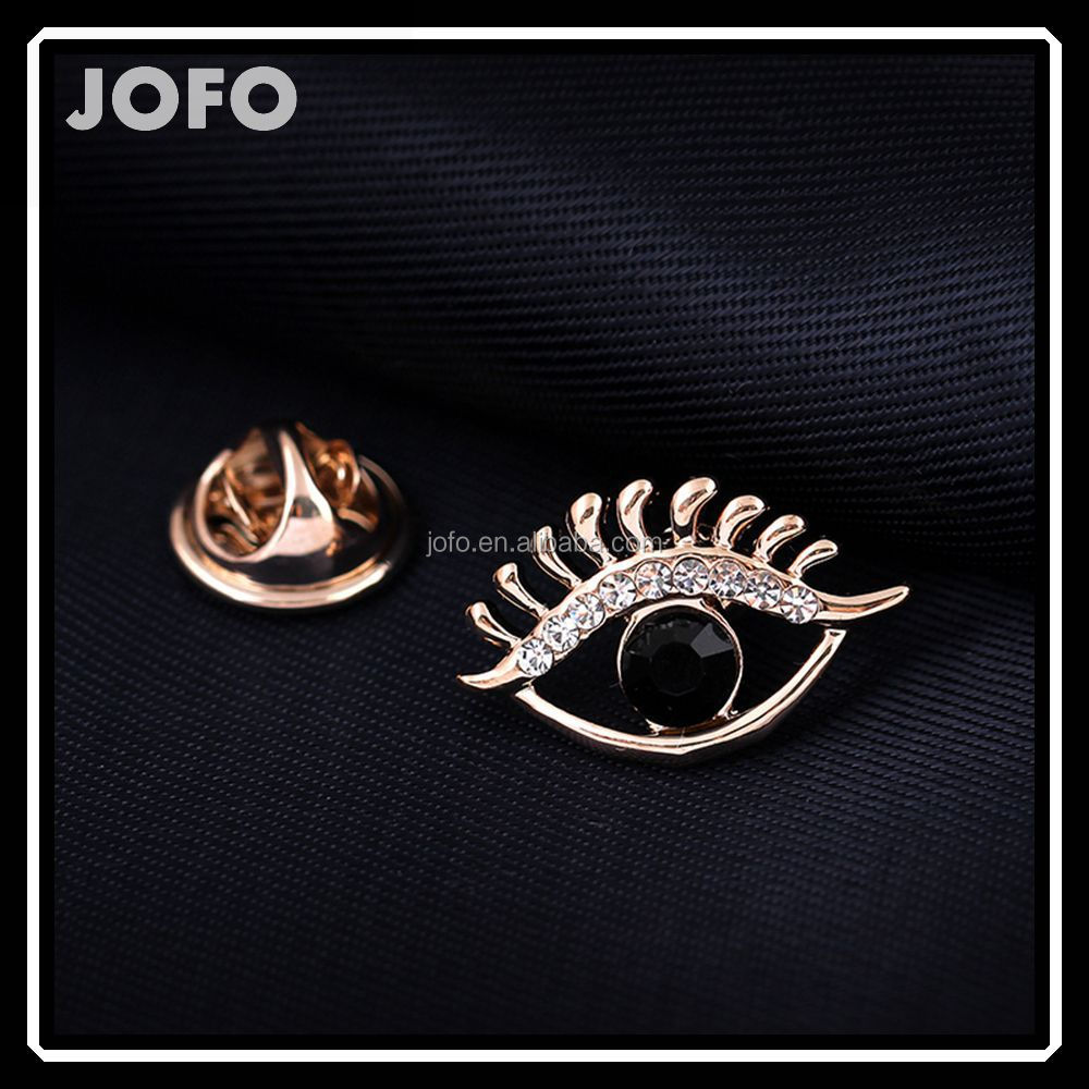 Women's Fashion Beautiful Black Crystal Eyes Brooch For Clothes DRJ0350