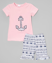 New Pretty Pink Tee And Shorts Set For Girl Cute Girl Clothes Set Fancy Children Clothing Set G-NP-CS905-178