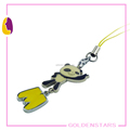 Custom blank phone chain enamel animals pendant key chains metal phone accessory