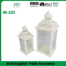 Chinese Top quality kwang hwa kerosene hurricane white metal lantern set of 2 for garden decoration with glass panels