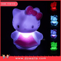 LED Plastic flashing light up toys with hello kitty 8cm for promotional gifts