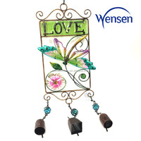 colorful metal garden deco, iron butterfly garden wind with love word