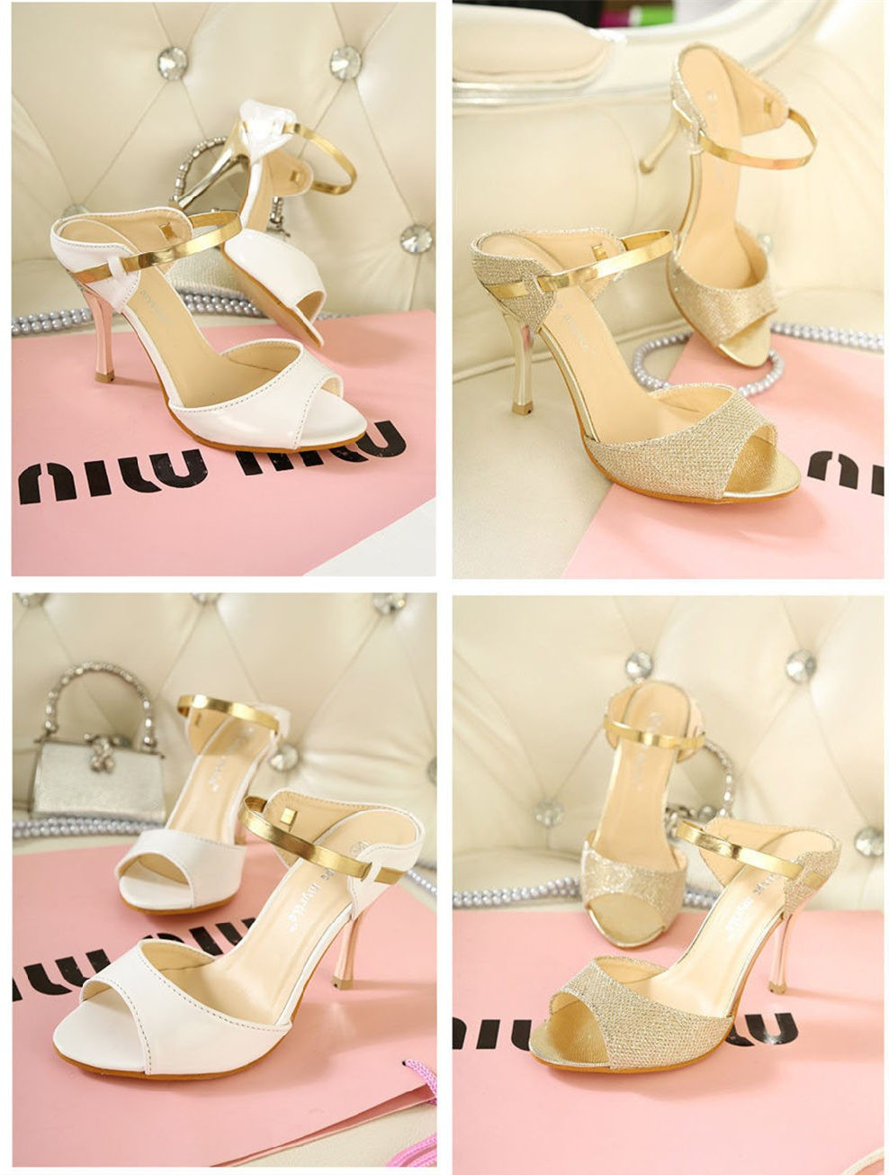 Summer Fashion Sexy Women High Heels PU Leather Peep Toe Slingback Shoes Sandals Golden