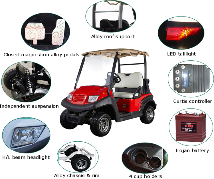 Aluminum chassis 2 seat competitive prices electric golf car