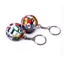 Sublimation printing color national flag volleyball keychain, Mini soft 3d sports basketball tennis ball key chain ring keyring