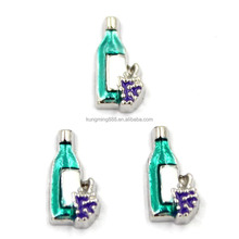 Silver Plated Wine Bottle Floating Charms for Floating Memory Locket