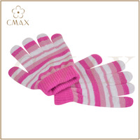 Perfect pink white striped lady children fashion knitted magic glove