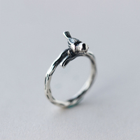 SJJ339 Thai Silver Jewelry Wholesale 925 Sterling Silver Women Retro Thin Bird Finger Ring