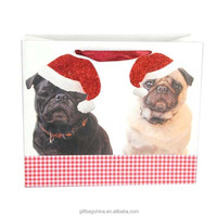 Glitter dogs christmas gift paper bag