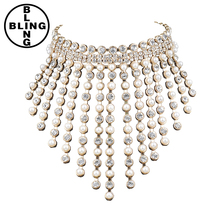 >>>Fashion gold metal tassel Chokers necklaces women chain chunky pearl maxi necklaces Collars necklace for women jewlery
