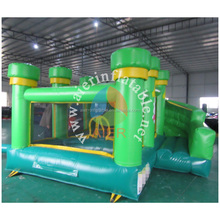 2017 NEW!factory price green jungle bounce inflatable with slide for kids/air bed for party