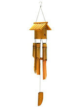 "Wholesale natural bamboo wind chime-34""H bird house bamboo wind chime"