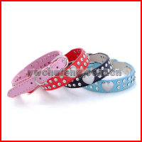 Hot sell beautiful heart shape diamond two rows PU pet dog collar