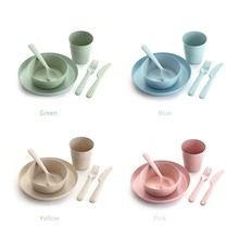 New Product 6 pcs Compostable Bowl <strong>Plate</strong> and Cutlery Set Wheat Straw Reusable Biodegradable Plastic Cutlery
