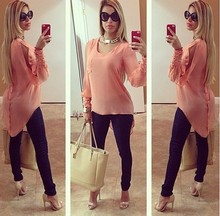 high rate long sleeve o neck apparel chiffon clothes plus size causal women's clothing ZC1884