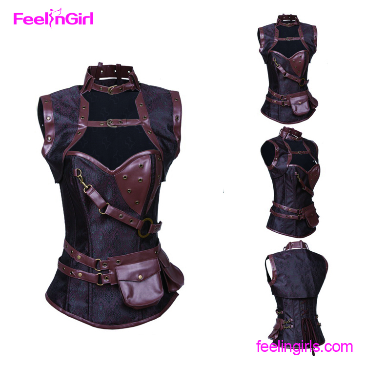 Accept Paypal Women Brown Leather Steampunk Corset With Jacket