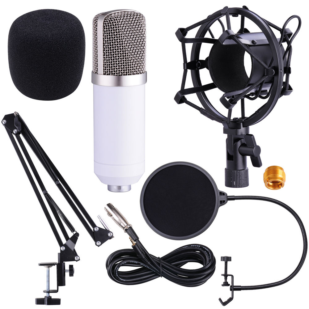 BM800 Recording Dynamic Condenser Microphone with Shock Mount With Scissor Stand Pop Filter