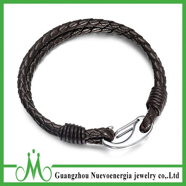 Mens accessories for jewelry coffee brown two-string braided leather bracelet