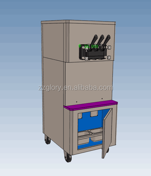 Customized supporting 3 nozzles Soft Syrup ice cream machine with high capacity