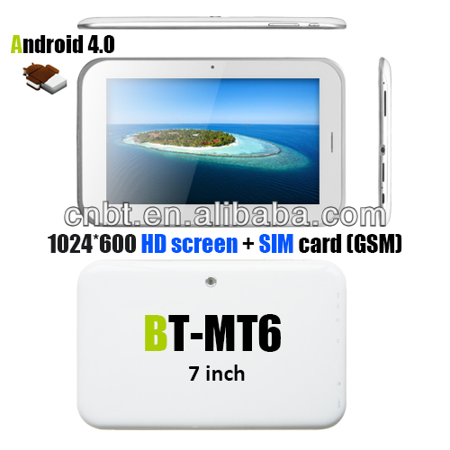 7 inch android 4.0 tablet pc sim card slot Dual core IPS screen Bluetooth gps fm