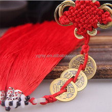 3 Copper Coins Red Chinese Knot Feng Shui Wealth Success Lucky Charm Home Car Decoration