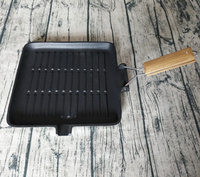 Cast Iron Fold Wooden Handle Grill Pan