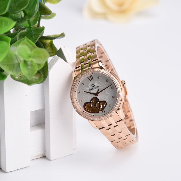 2016 automatic mechanical rose gold wrist watches women