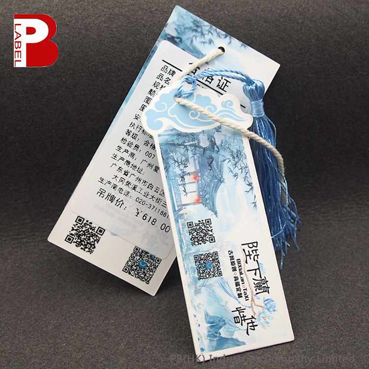 Aesthetic Clical Chinese Style Pre Printed Price Labels Paper Hang Tags With Tels For Clothing