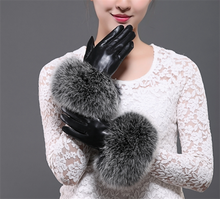 Fashion High quality fake fox fur cuff sheepskin gloves women cute winter leather driving gloves