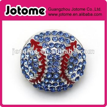 New design round basketball blue rhinestone button