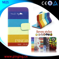 Factory Price Wholesale Printed Fancy Wallet Stand Leather Flip Cover for Nokia Lumia 625