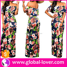 Wholesale Off Shoulder Floral Printed Bodycon Tight Flowing Women Long Dresses