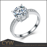 CYW wholesale high quality 925 Sterling silver 8 mm big zircon finger ring short lead time