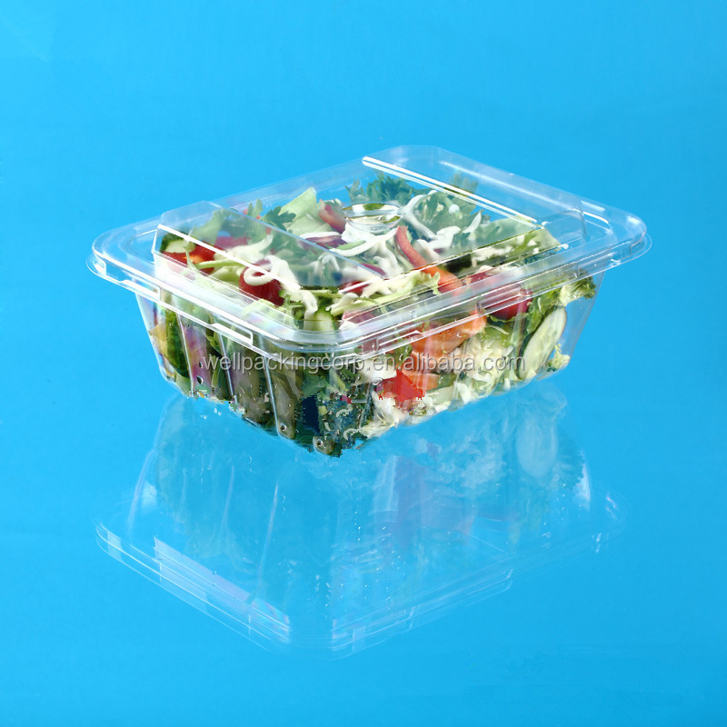rectangle clear plastic salad container with fork