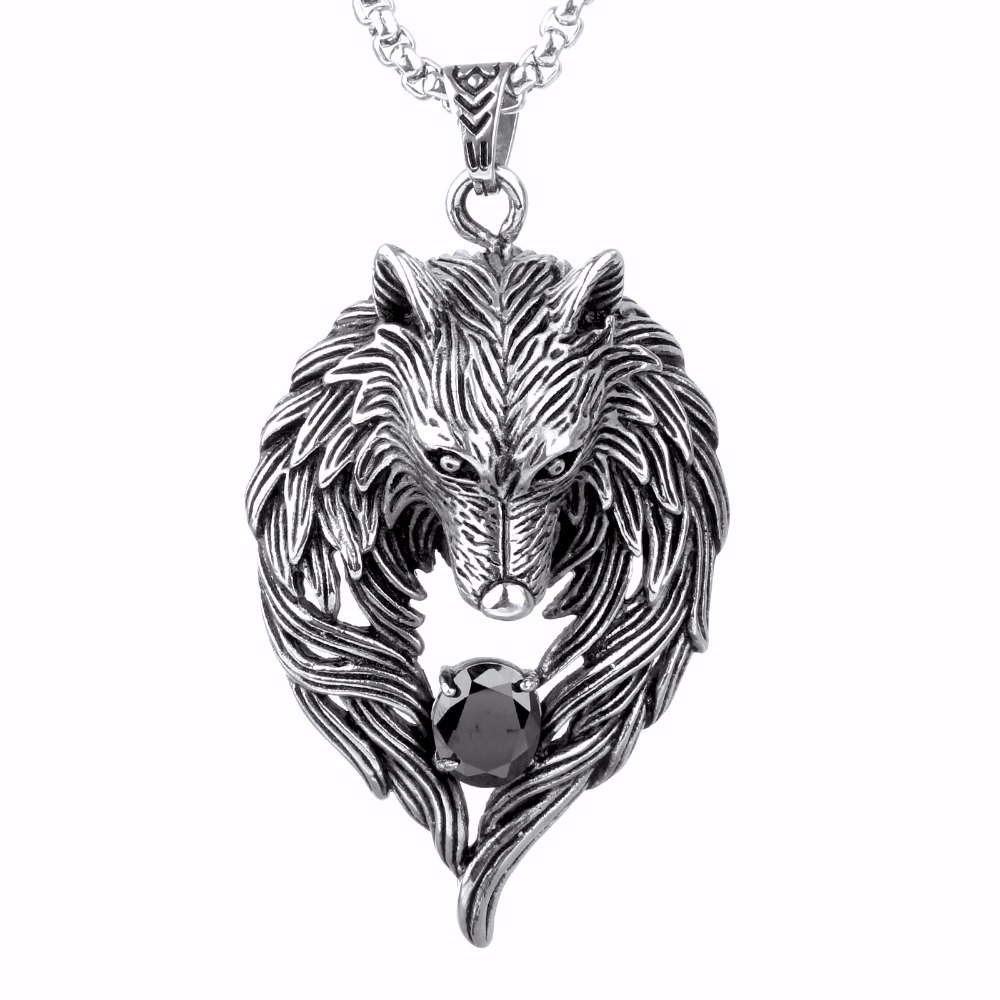SJPC0022 Factory Price Stainless Steel Hip Pop Style Men Cubic Zirconia Cool Wolf Head Wings Pendant Necklace