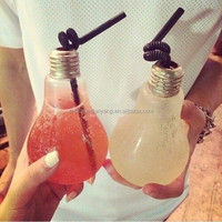 wholesale light bulb shaped glass beverage bottle with straws