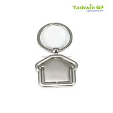 2015 popular house shape or special shape metal rotary keychain with custom logo design
